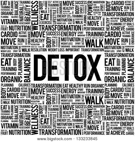 DETOX word cloud background health concept, presentation background