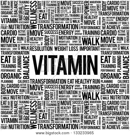 VITAMIN word cloud background health concept, presentation background