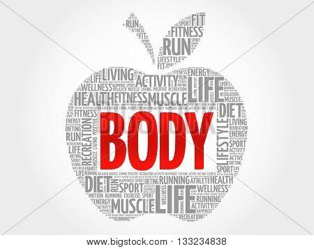 BODY apple word cloud health concept, presentation background