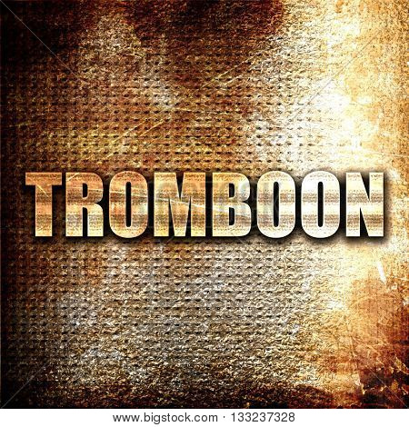 trombone, 3D rendering, metal text on rust background