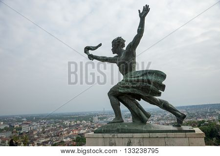 Budapest Hungary - April 10. 2016: Statue at the Citadel on Gellert hill in Budapest