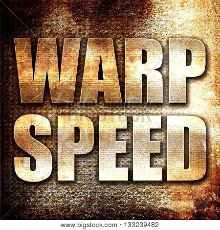warp speed, 3D rendering, metal text on rust background