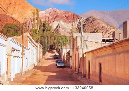 On the streets of Purmamarca town in the province of Jujuy. Argentina.