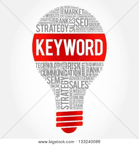 KEYWORD bulb word cloud business concept, presentation background