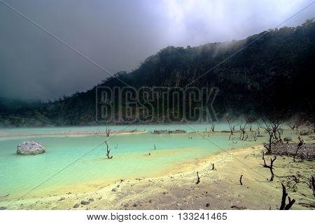 Kawah Putih Crater in Ciwidey West Javaindonesia