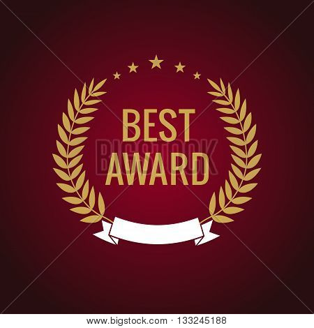 Best award gold star laurel label. Best award vector gold laurel wreath sign. Winner label, leaf symbol victory, triumph and success illustration