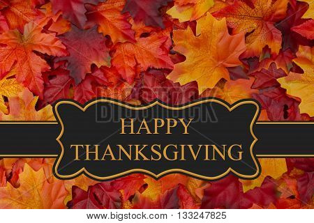 Happy Thanksgiving Greeting Fall Leaves Background and text Happy Thanksgiving, 3D Illustration