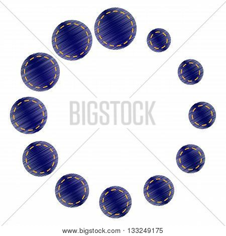Circular loading sign. Jeans style icon on white background.