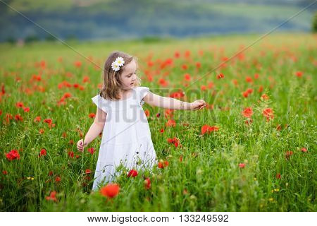 Adorable little girl in white dress playing in poppy flower field. Child picking red poppies. Toddler kid having fun in summer meadow. Family summer vacation in the country. Children pick flowers.