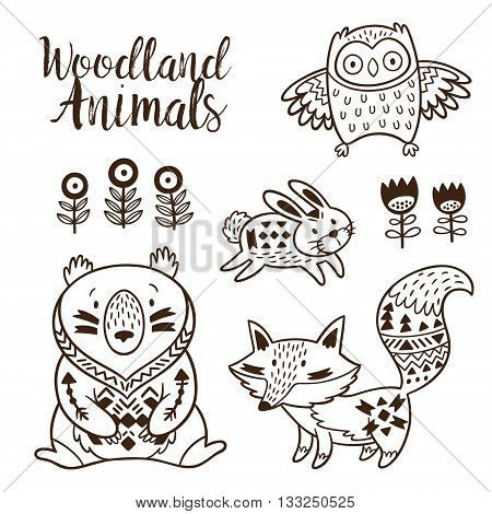 Woodland Animal Coloring Pages for Kids. Hand drawn vector on a white background. Coloring book. Ornamental tribal patterned illustration for tattoo, poster, print. Tribal animal coollection of bear, rabbit, owl and fox