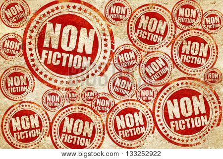 non fiction, red stamp on a grunge paper texture