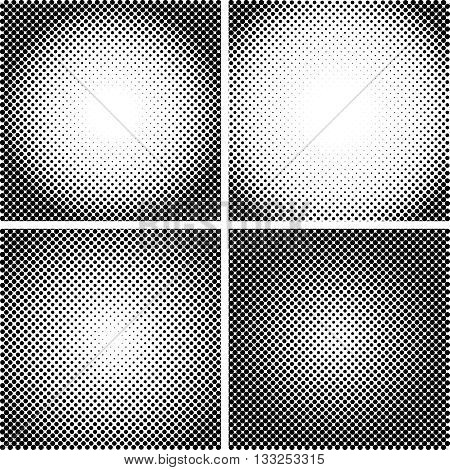Vector halftone Dot Textures set. A set of 4 halftone frame patterns. Analog halftone structure. Overlay vector abstract textures. Abstract vector background. Halftone vector structure
