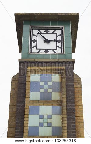 Ancient clock tower of Falaise in the city of Hastings East Sussex England.