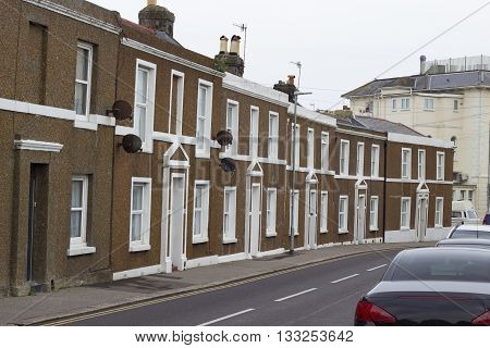 Typical British house in Hastings a historic coastal town in the county of East Sussex in England.