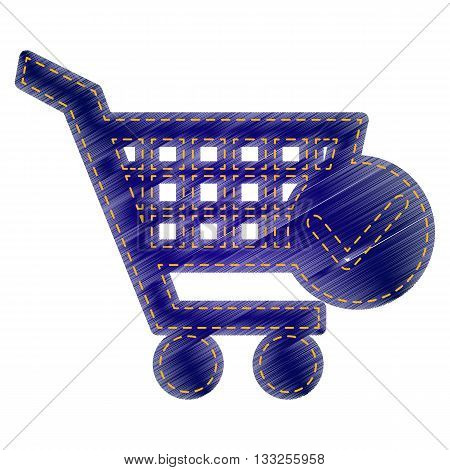 Shopping Cart with Check Mark sign. Jeans style icon on white background.