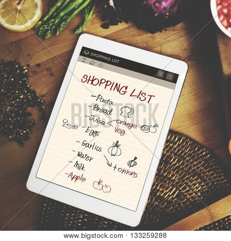 Shopping List Notes Groceries Refrigerated Concept