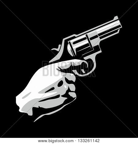 Hand holding revolver gun isolated on black background. Flat vector illustration