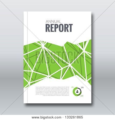 Cover Report Business Colorful Triangle Polygonal Geometric pattern Green Design Background, Cover Magazine, Brochure Book Cover Template, vector illustration.