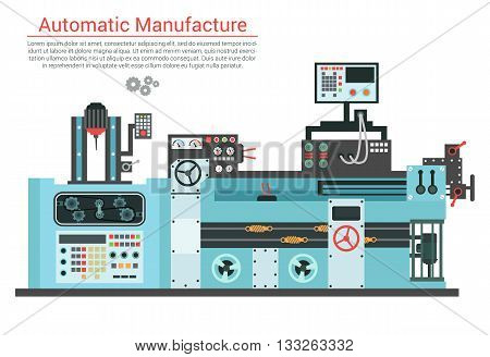 Vector flat illustration of complex engineering machine with pump, pipe, cable, cog wheel, transformation, rotating details. Industrial mechanical revolution of manufacturing equipment. Eps 10