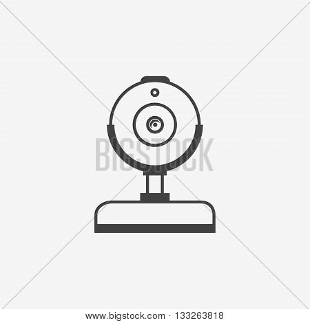 Web cam monochrome icon on white background. Vector illustration.