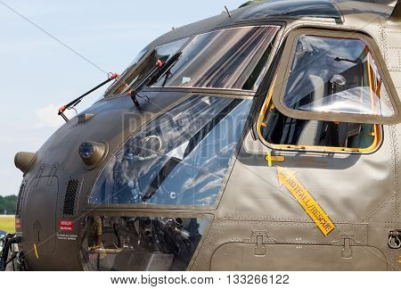 BERLIN / GERMANY - JUNE 3 2016: cockpit from a german ch-53 transport helicopter on airport in schoenefeld berlin / germany at june 3 2016.