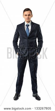 Front view of cutout businessman putting hands in his pocket. Successful lifestyle. Business staff. Office clothes. Dress code. Presentable appearance. Self-confidence.