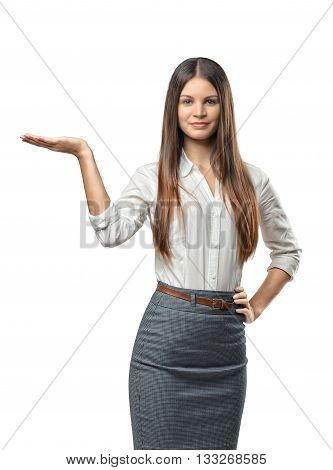 Cutout business woman raised her hand to show something. Presentation. Business staff. Affability. Invite and guide. Office clothes. Dress code. Presentable appearance. Self-confidence.
