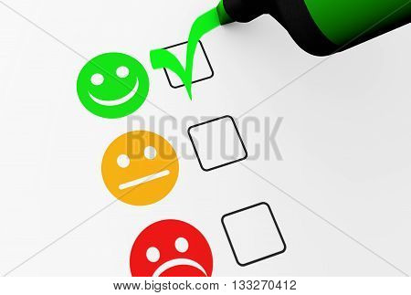 Customer satisfaction happy feedback rating checklist and business quality evaluation concept 3D illustration. poster