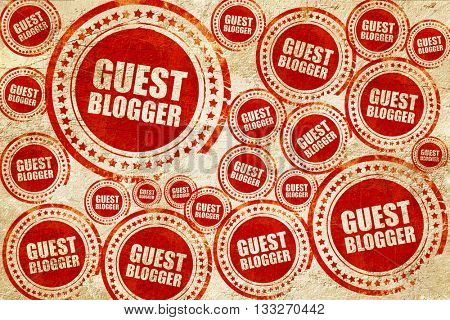 guest blogger, red stamp on a grunge paper texture