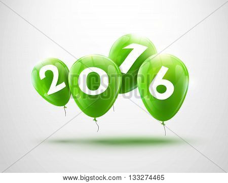 Sample greeting card 2016 Christmas card with realistic green balloons and numbers. Image Printer, stocks, greetings, e-mail, Web. Vector illustration.