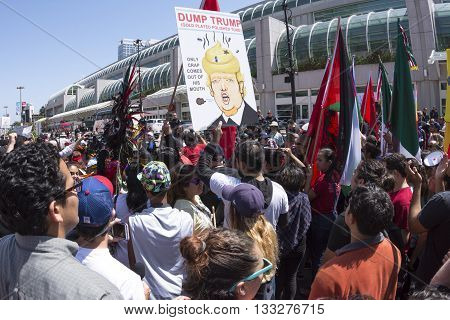 SAN DIEGO USA - MAY 27 2016: Anti-Trump protesters gather by the hundreds outside a Trump rally at the San Diego Convention Center.