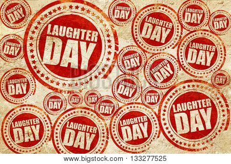 laugher day, red stamp on a grunge paper texture