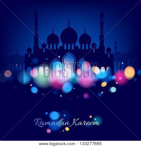 Ramadan kareem. Ramadan background colorful design vector illustration. Ramadan greeting card poster flyer backdrop. Beautiful glow light with mosque and minarets silhouette.