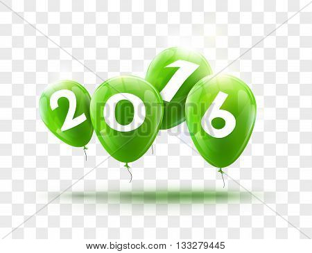 Sample greeting card 2016 Christmas card with realistic Green Balloons and numbers on transparent background. Image Printer, stocks, greetings, e-mail, Web. Vector illustration.