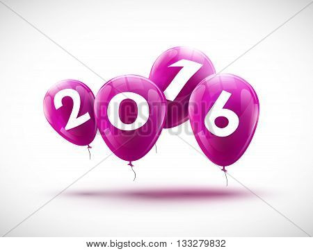 Sample greeting card 2016 Christmas card with realistic lilac balloons and numbers. Image Printer, stocks, greetings, e-mail, Web. Vector illustration.