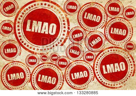 lmao internet slang, red stamp on a grunge paper texture