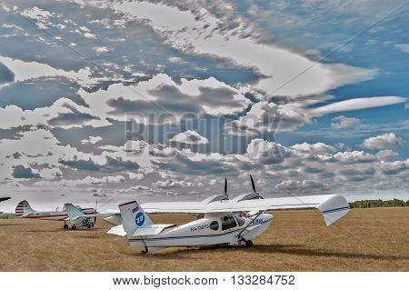 Yalutorovsk, Russia - September 14, 2013: Hydroplane SK-12 Orion on sport airdrome