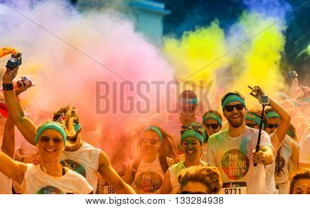 PRAGUE, CZECH REPUBLIC - JUNE 4: People attend the Color Run on June 4, 2016 in Prague, Czech rep. The Color Run is a worldwide hosted fun race with about 20000 competitors in Prague.