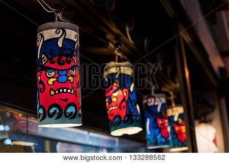 Demon Lamps Decorated At Noboribetsu