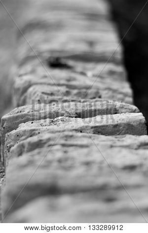 Shallow depth of field view of a stone wall coping