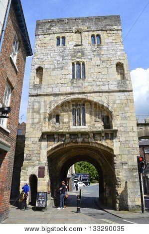 York Yorkshire England UK - May 22 2016 : Monk Bar four-storey gatehouse is the tallest of the four bars on the surrounding City wall of York