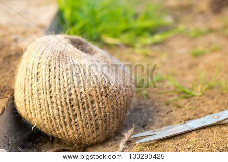 Ball of garden twine with scissors to one side