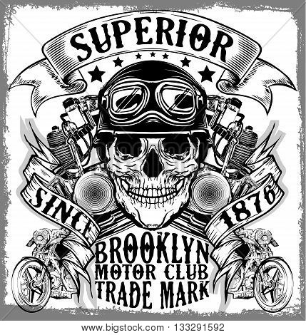Motorcycle label t-shirt design with illustration of custom chopper
