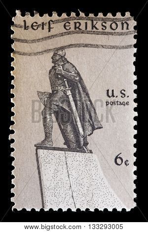 United States Used Postage Stamp Showing The Viking Explorer Leif Erikson