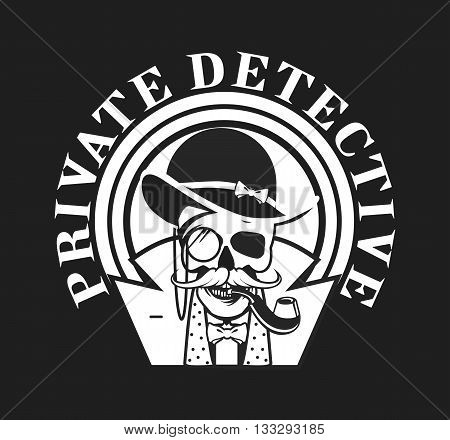 vector illustration of a skull with a pipe and a private investigator hat on black and white