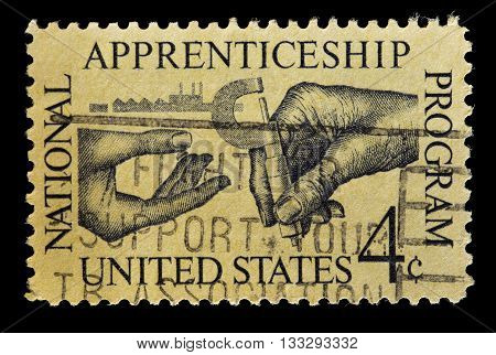 United States Used Postage Stamp Showing For The National Apprenticeship Program