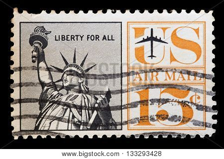 United States Used Postage Stamp Showing The Statue Of Liberty