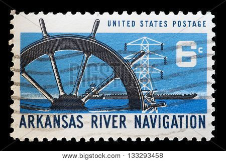 United States Used Postage Stamp Showing Boats On The Arkansas River