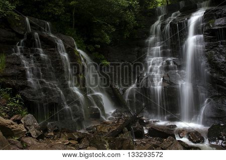 The twin waterfalls of Soco Falls in western North Carolina in Maggie Valley during springtime.