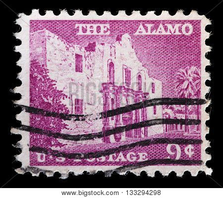 United States Used Postage Stamp Showing The Alamo Mission